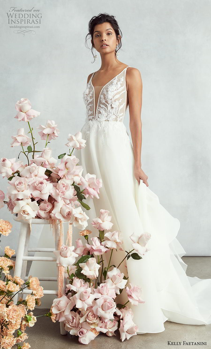 kelly faetanini fall 2020 bridal sleeveless thin strap deep plunging sweetheart neckline heavily embellished bodice romantic a  line wedding dress backless v back chapel train (7) mv