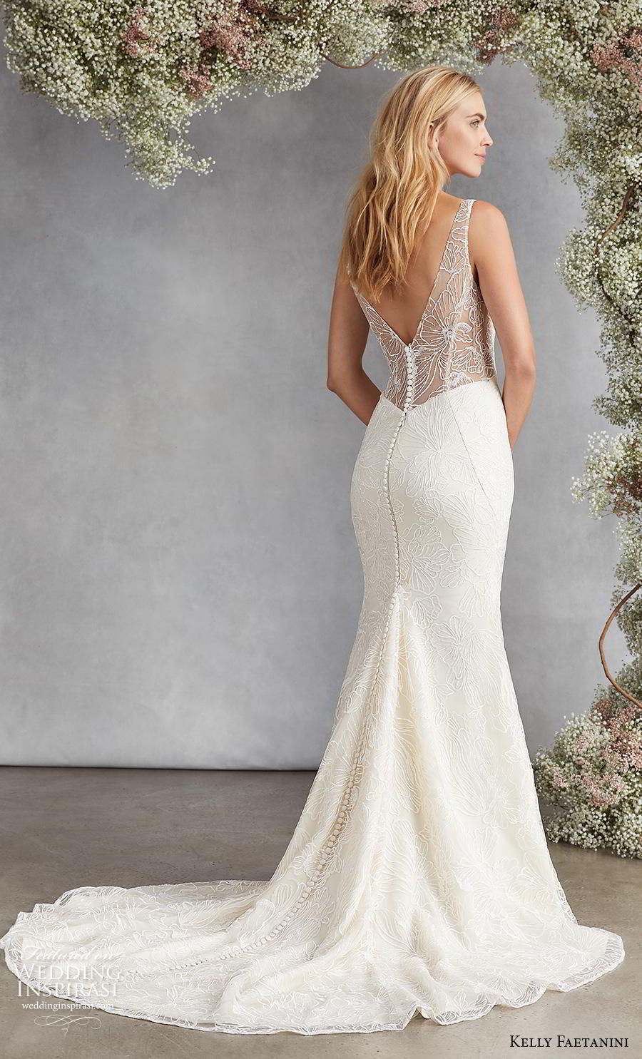 kelly faetanini fall 2020 bridal sleeveless v neck light embellishment elegant classic fit and flare wedding dress v back medium train (16) bv