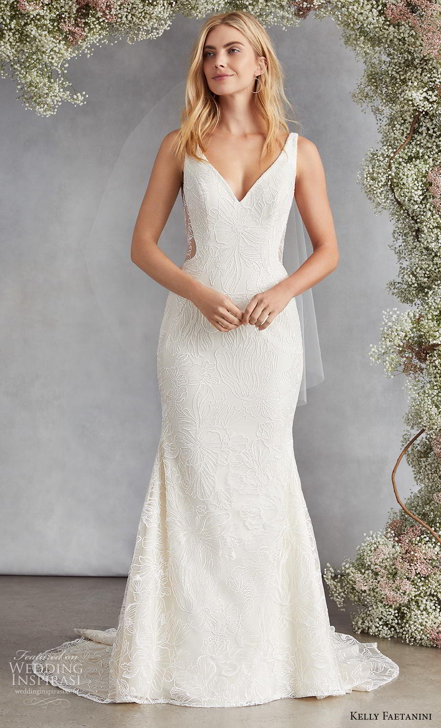 kelly faetanini fall 2020 bridal sleeveless v neck light embellishment elegant classic fit and flare wedding dress v back medium train (16) mv