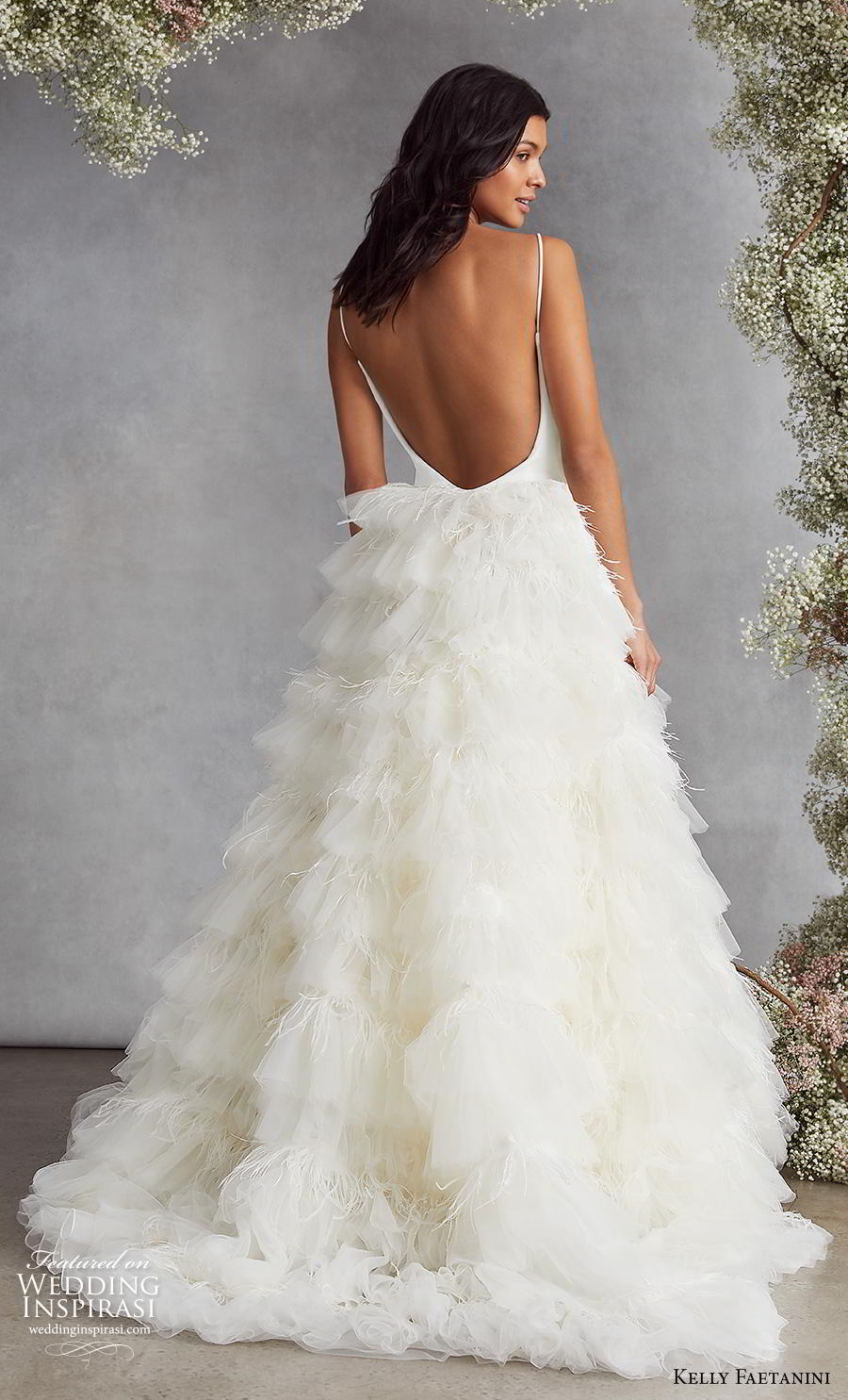 kelly faetanini fall 2020 bridal sleveeless spaghetti strap scoop neckline simple minimalist bodice ruffled skirt romantic a  line wedding dress backless low back sweep train (10) bv