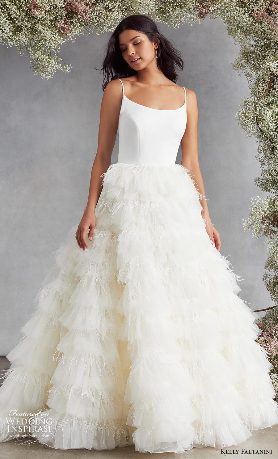 kelly faetanini fall 2020 bridal sleveeless spaghetti strap scoop neckline simple minimalist bodice ruffled skirt romantic a  line wedding dress backless low back sweep train (10) mv