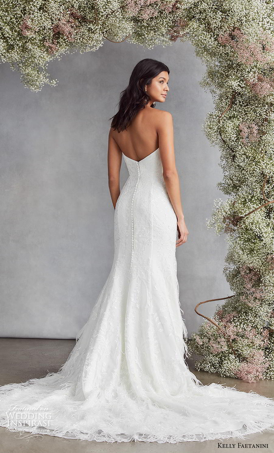 kelly faetanini fall 2020 bridal strapless deep plunging sweetheart neckline full embellishment elegant romantic fit and flare wedding dress mid back chapel train (8) bv