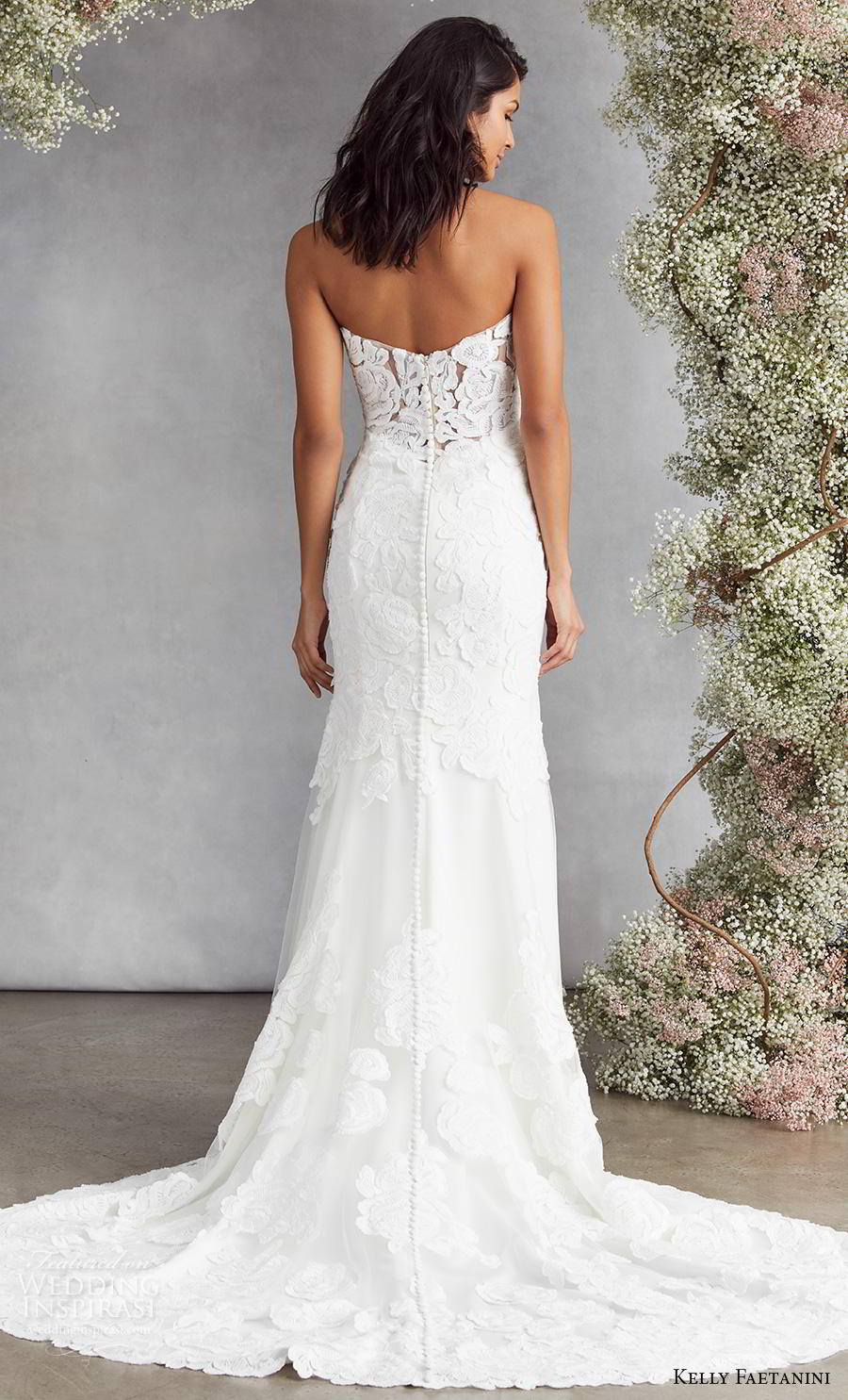 kelly faetanini fall 2020 bridal strapless deep plunging sweetheart neckline full embellishment romantic fit and flare wedding dress mid back medium train (14) bv