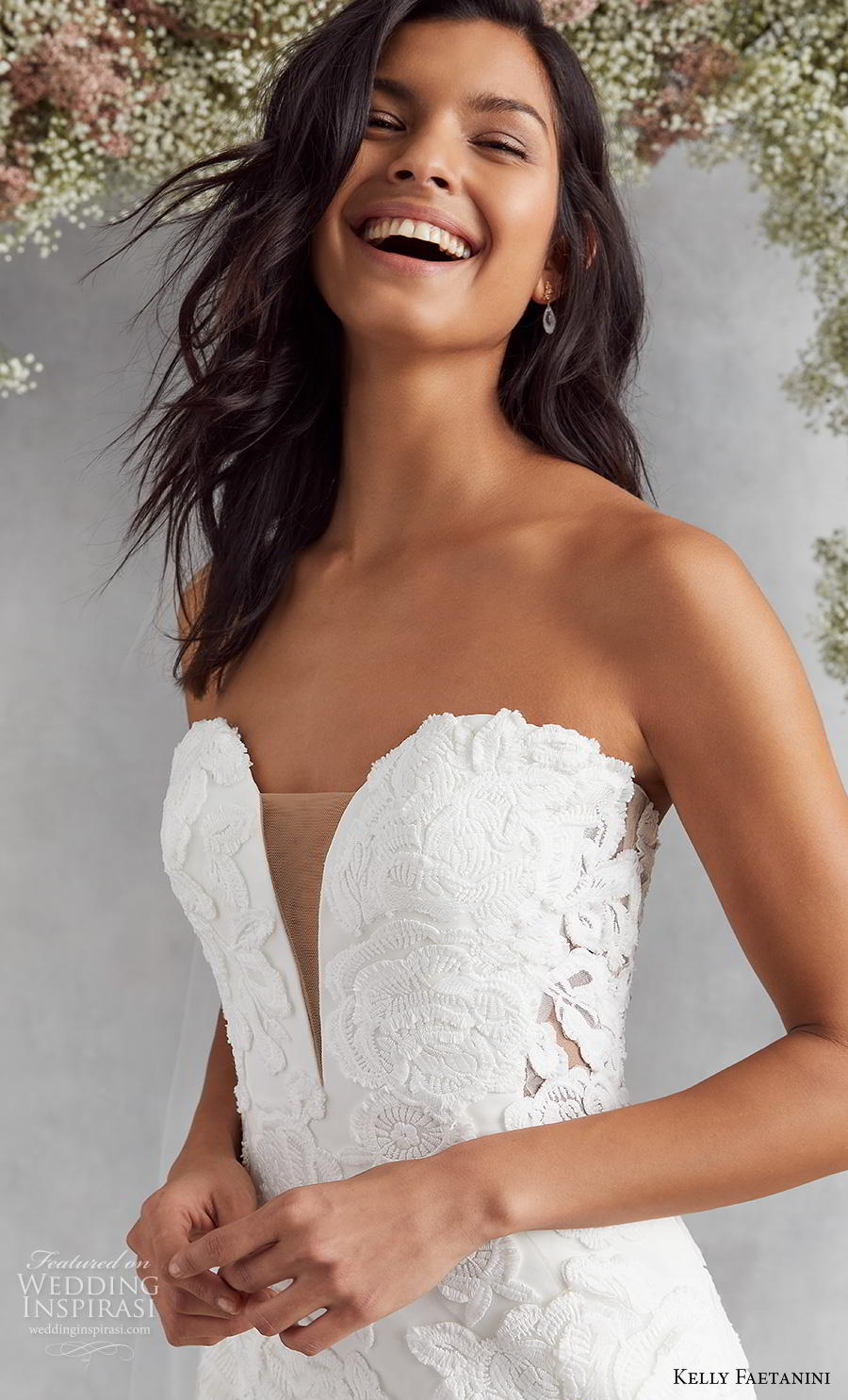kelly faetanini fall 2020 bridal strapless deep plunging sweetheart neckline full embellishment romantic fit and flare wedding dress mid back medium train (14) zv
