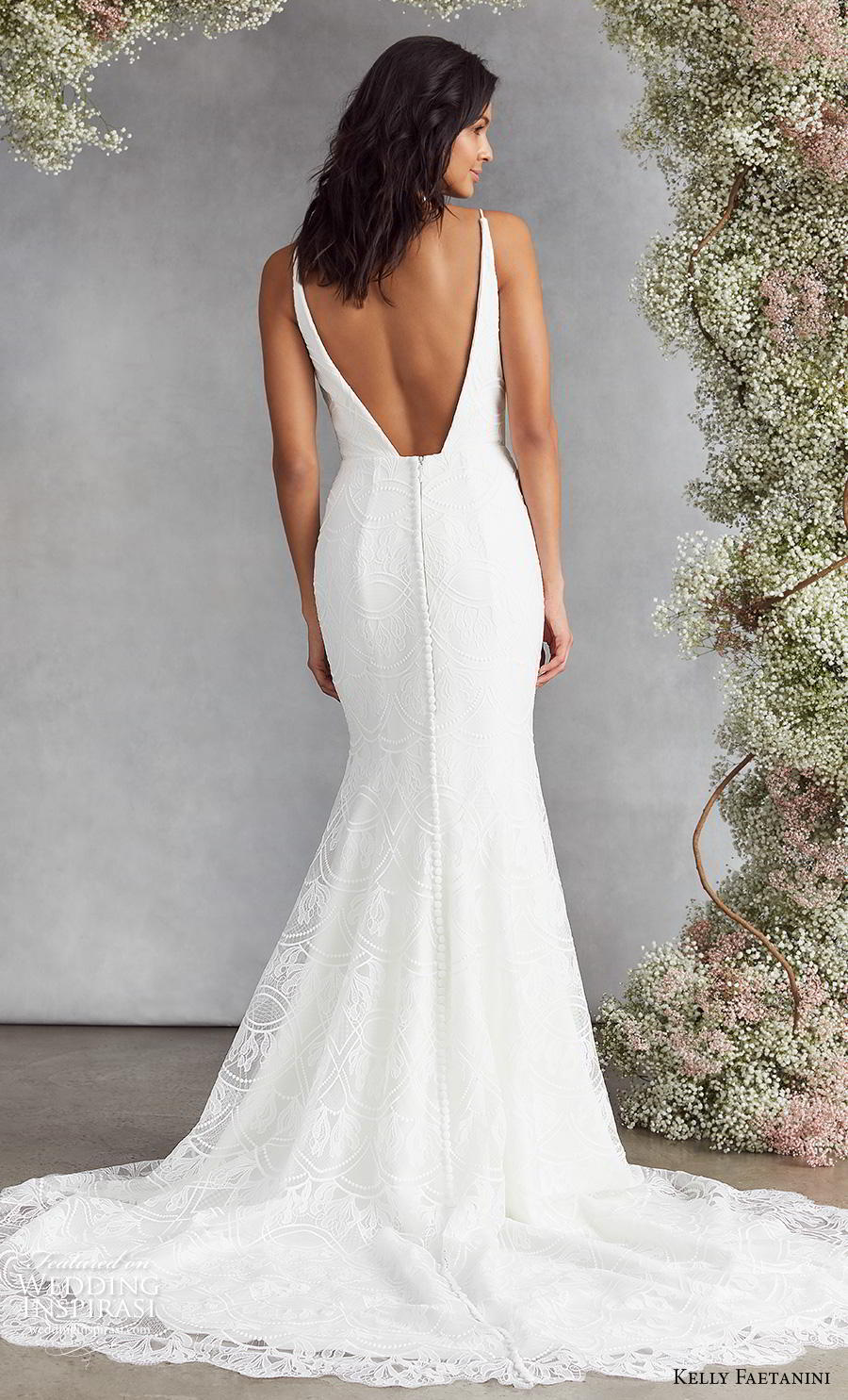 kelly faetanini fall 2020 bridal thin strap deep funnel v neck light embellishment elegant fit and flare wedding dress backless low v back chapel train (11) bv