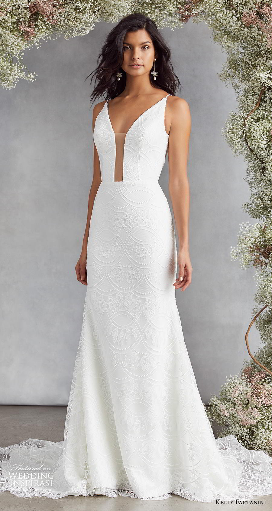 kelly faetanini fall 2020 bridal thin strap deep funnel v neck light embellishment elegant fit and flare wedding dress backless low v back chapel train (11) mv