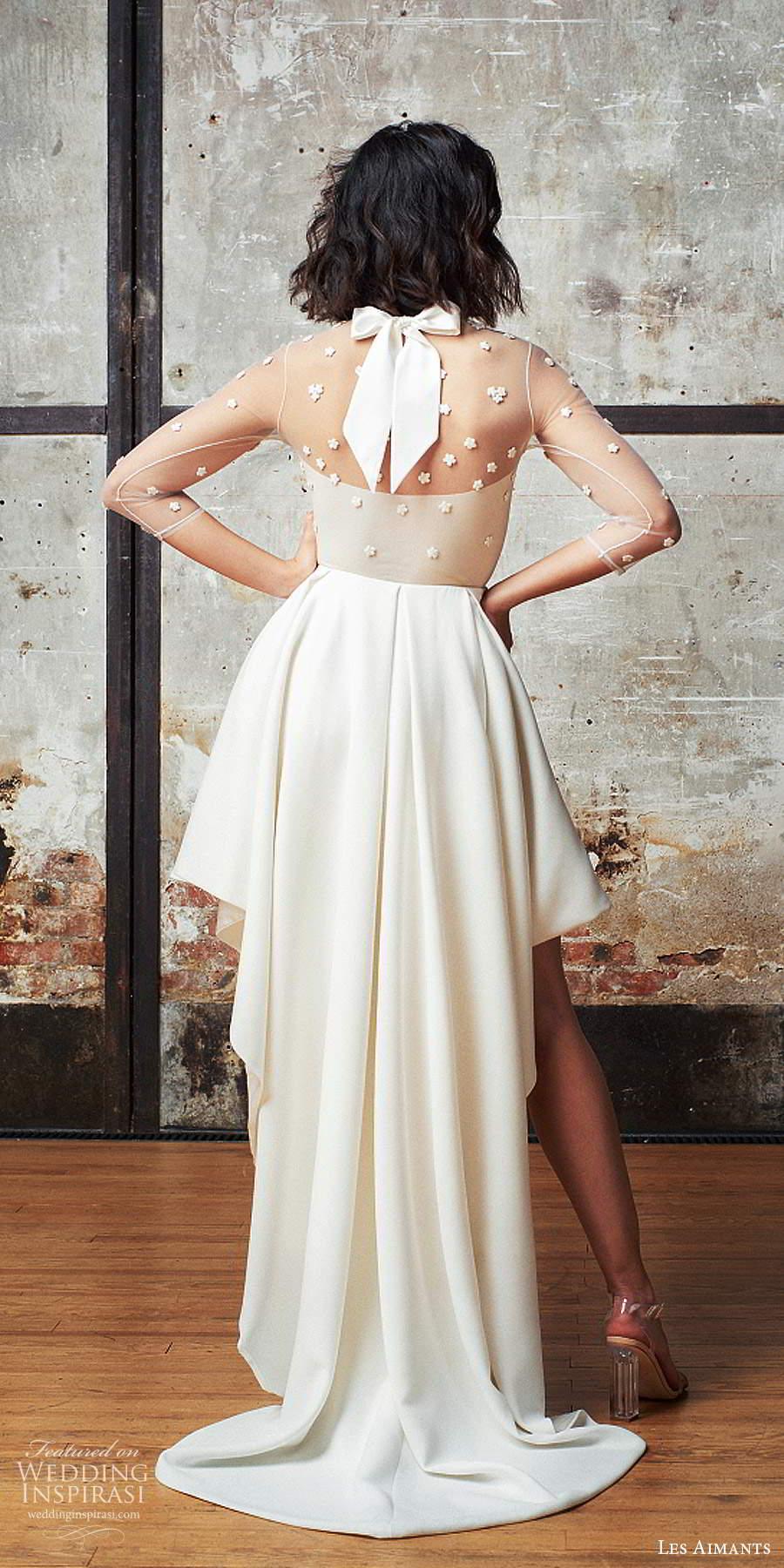 les aimants 2019 bridal illusion 3 quarter sleeves sheer jewel neckline embellished bodice high low wedding dress chapel train (2) bv