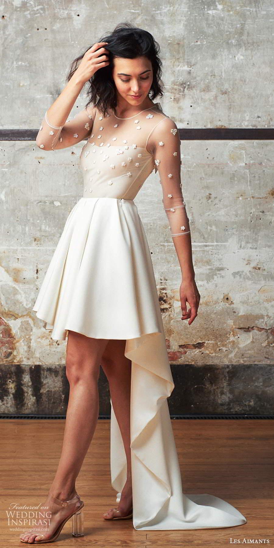 les aimants 2019 bridal illusion 3 quarter sleeves sheer jewel neckline embellished bodice high low wedding dress chapel train (2) sv