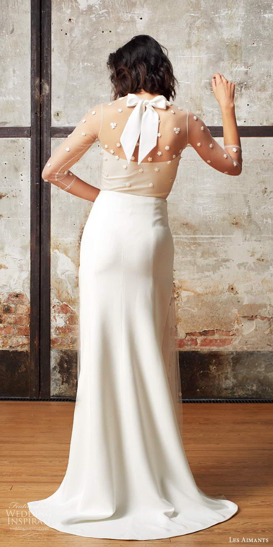 les aimants 2019 bridal illusion 3 quarter sleeves sheer jewel neckline embellished bodice sheath wedding dress chapel train (3) bv