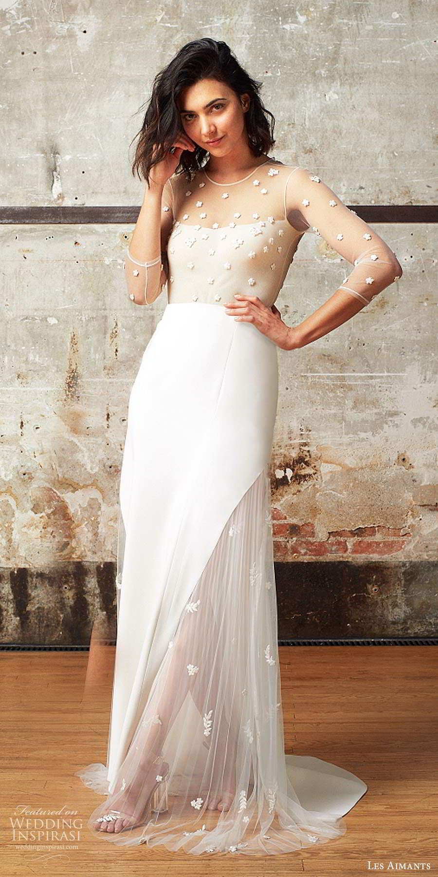 les aimants 2019 bridal illusion 3 quarter sleeves sheer jewel neckline embellished bodice sheath wedding dress chapel train (3) mv