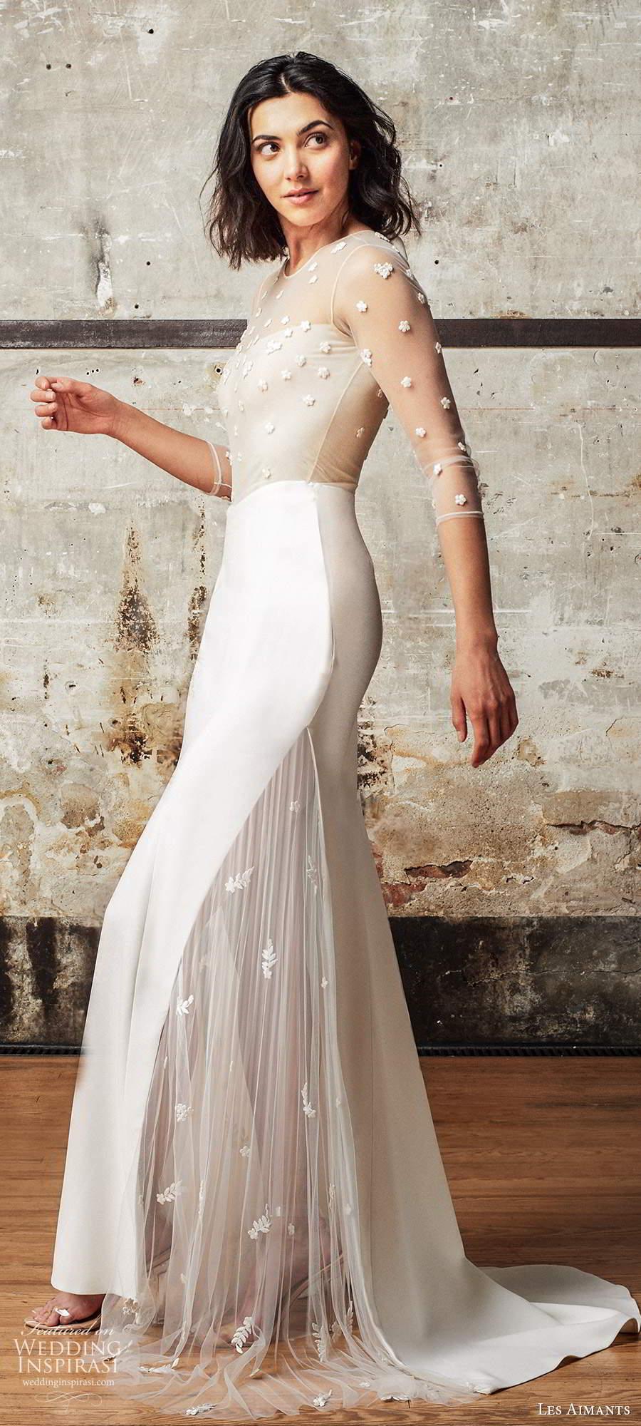 les aimants 2019 bridal illusion 3 quarter sleeves sheer jewel neckline embellished bodice sheath wedding dress chapel train (3) sv