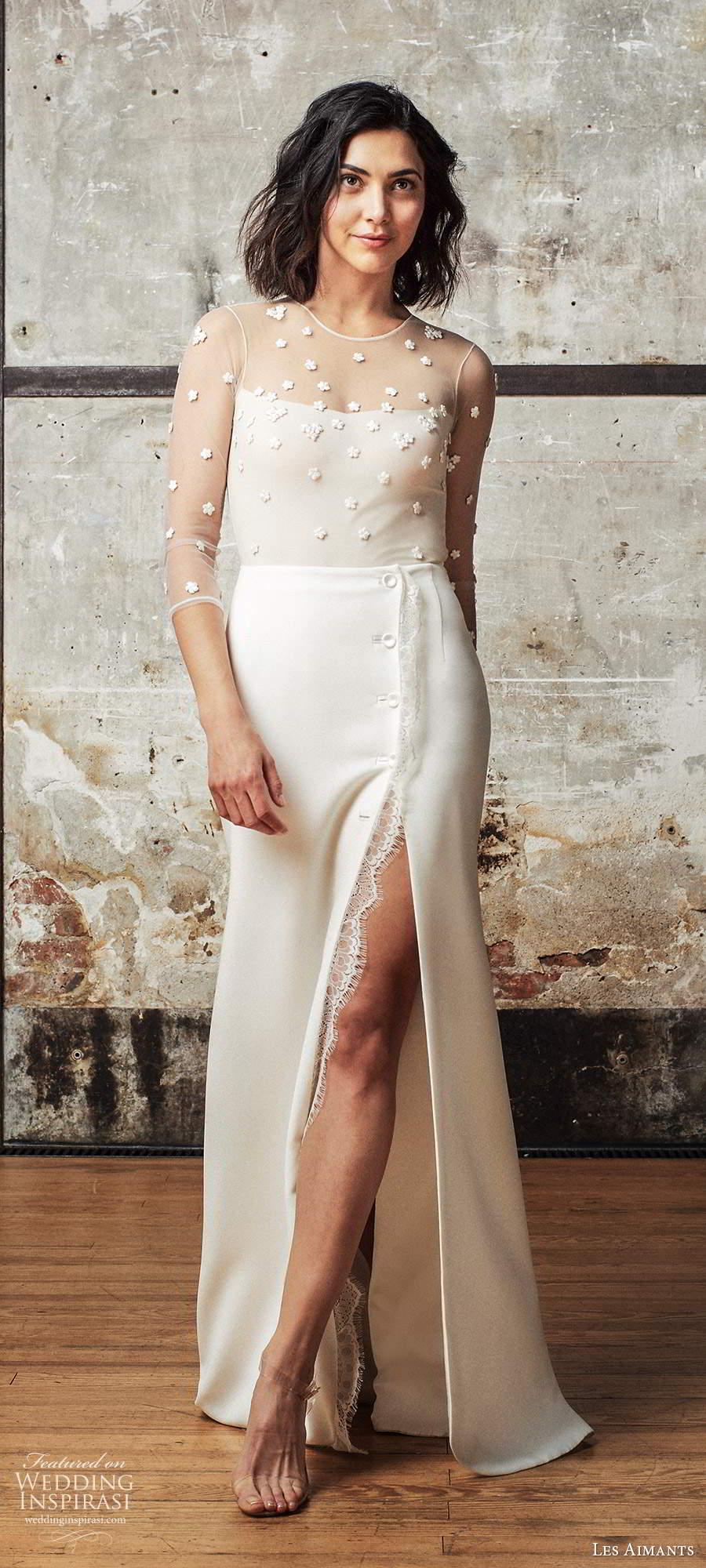 les aimants 2019 bridal illusion 3 quarter sleeves sheer jewel neckline embellished bodice sheath wedding dress slit skirt chapel train (1) mv