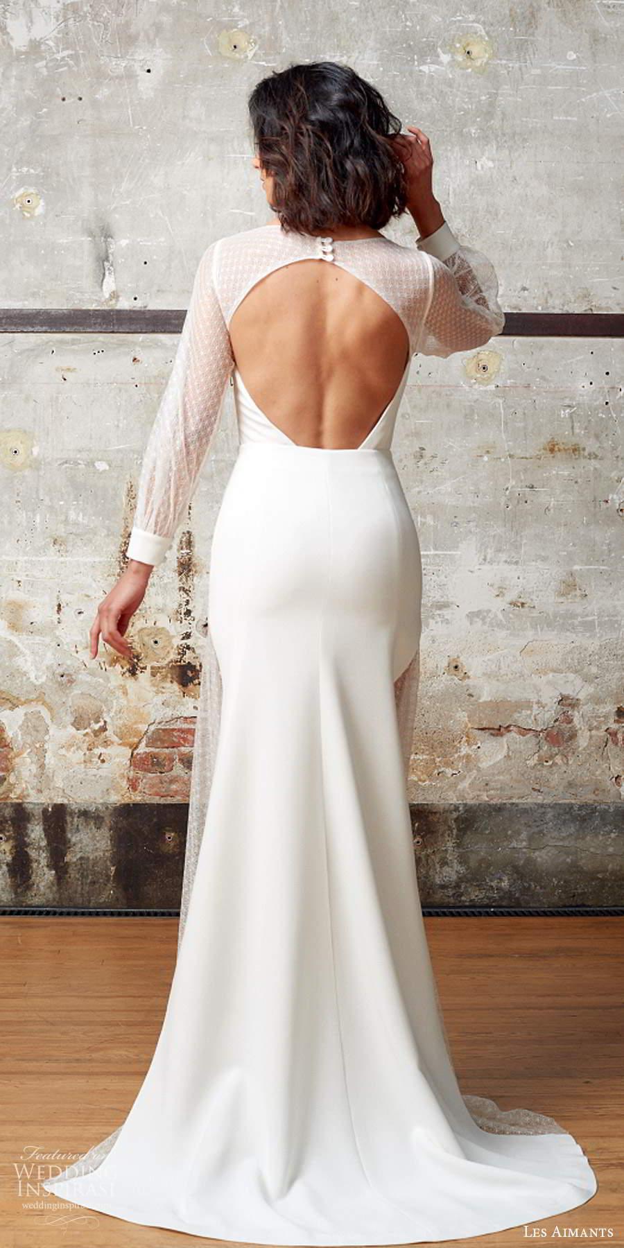 les aimants 2019 bridal illusion bishop sleeves jewel neckline clean minimally embellished sheath trumpet wedding dress cutout back chapel train (5) bv