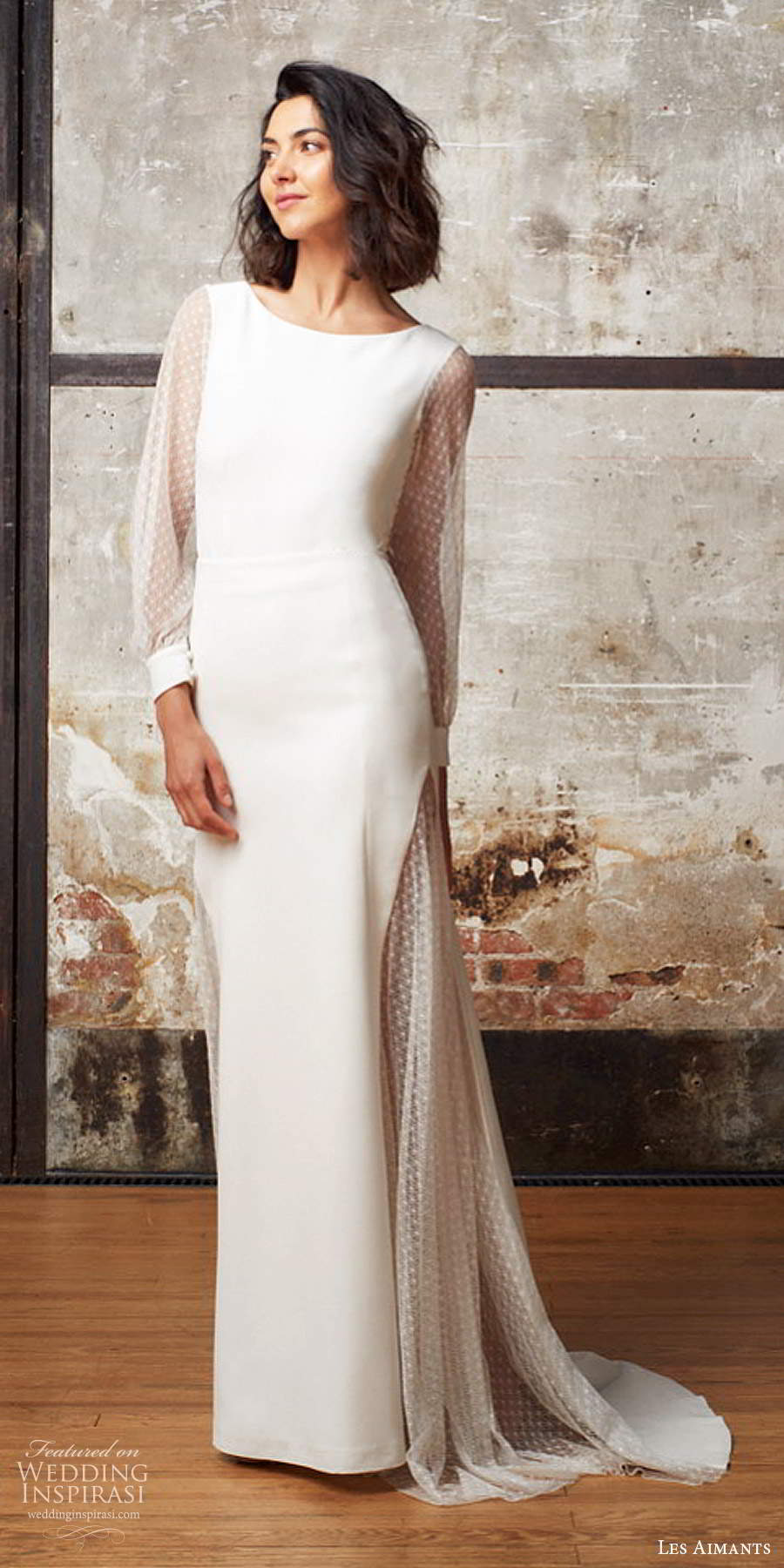 les aimants 2019 bridal illusion bishop sleeves jewel neckline clean minimally embellished sheath trumpet wedding dress cutout back chapel train (5)  mv