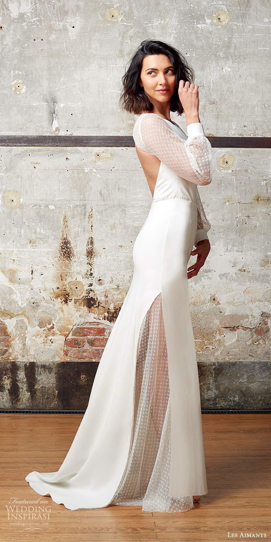 les aimants 2019 bridal illusion bishop sleeves jewel neckline clean minimally embellished sheath trumpet wedding dress cutout back chapel train (5) sv