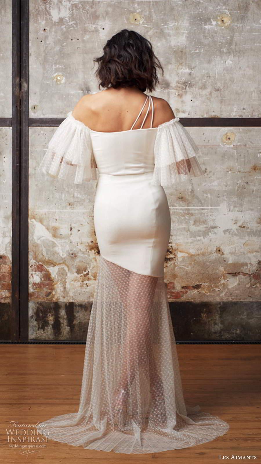 les aimants 2019 bridal off shoulder flutter sleeves straight across neckline clean minimally embellished fit flare mermaid wedding dress sheer skirt chapel train (7) bv