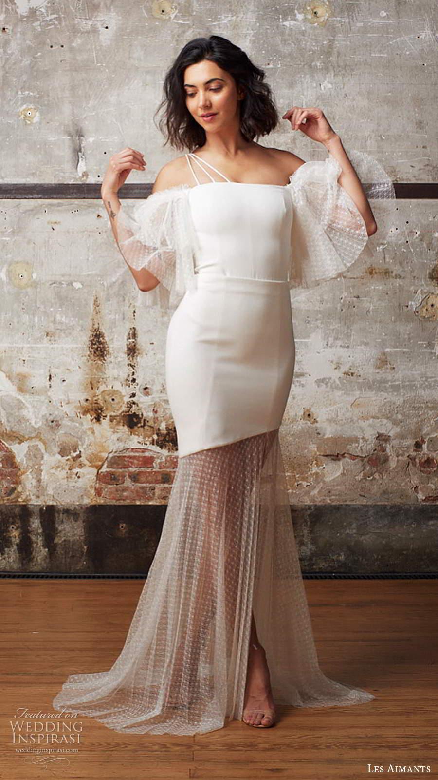 les aimants 2019 bridal off shoulder flutter sleeves straight across neckline clean minimally embellished fit flare mermaid wedding dress sheer skirt chapel train (7) mv