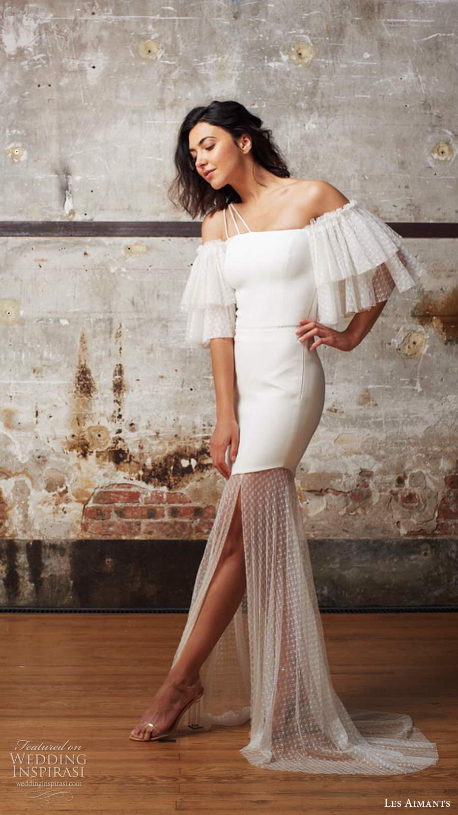 les aimants 2019 bridal off shoulder flutter sleeves straight across neckline clean minimally embellished fit flare mermaid wedding dress sheer skirt chapel train (7) sv