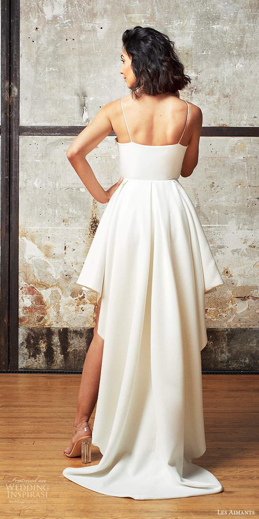 les aimants 2019 bridal sleeveless thin straps minimally embellished high low short a line wedding dress chapel train (6) bv