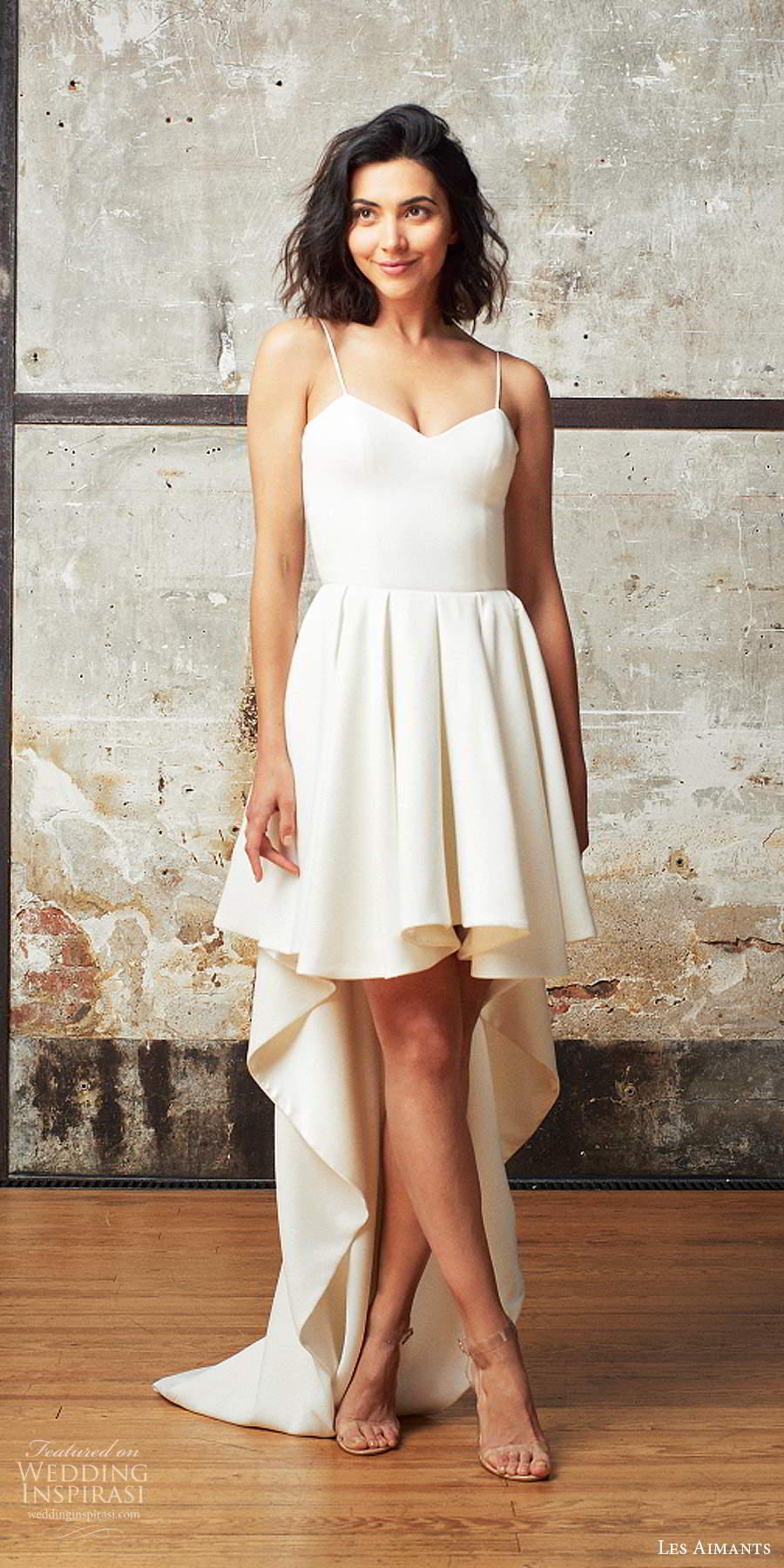 les aimants 2019 bridal sleeveless thin straps minimally embellished high low short a line wedding dress chapel train (6) mv