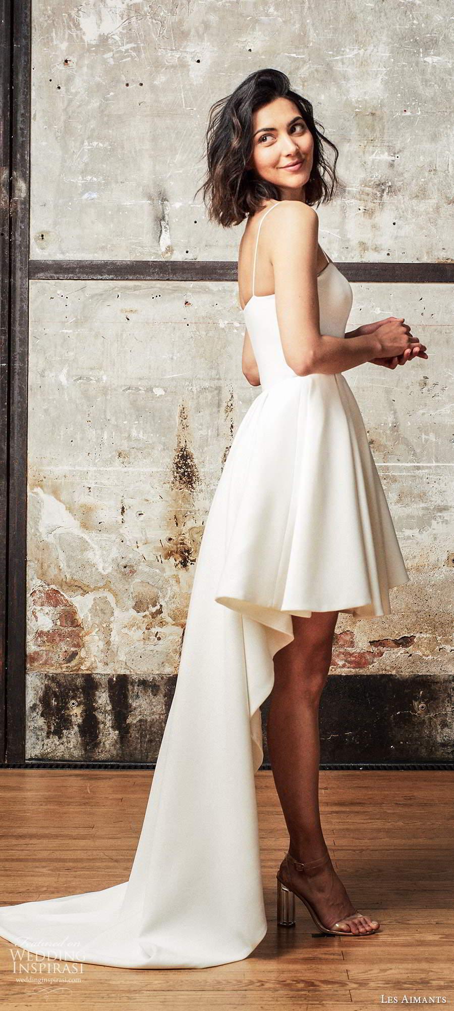 les aimants 2019 bridal sleeveless thin straps minimally embellished high low short a line wedding dress chapel train (6) sv