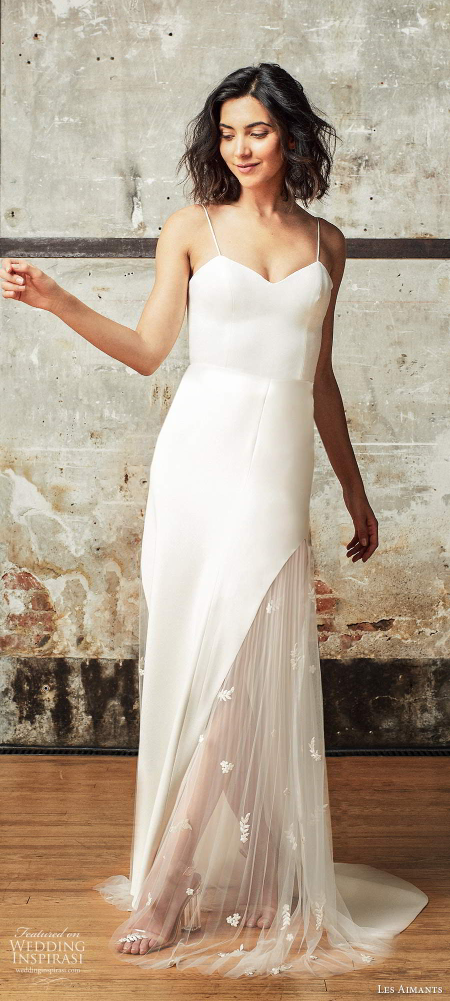 les aimants 2019 bridal sleeveless thin straps semi sweetheart neckline clean minimally embellished sheath wedding dress (4) mv