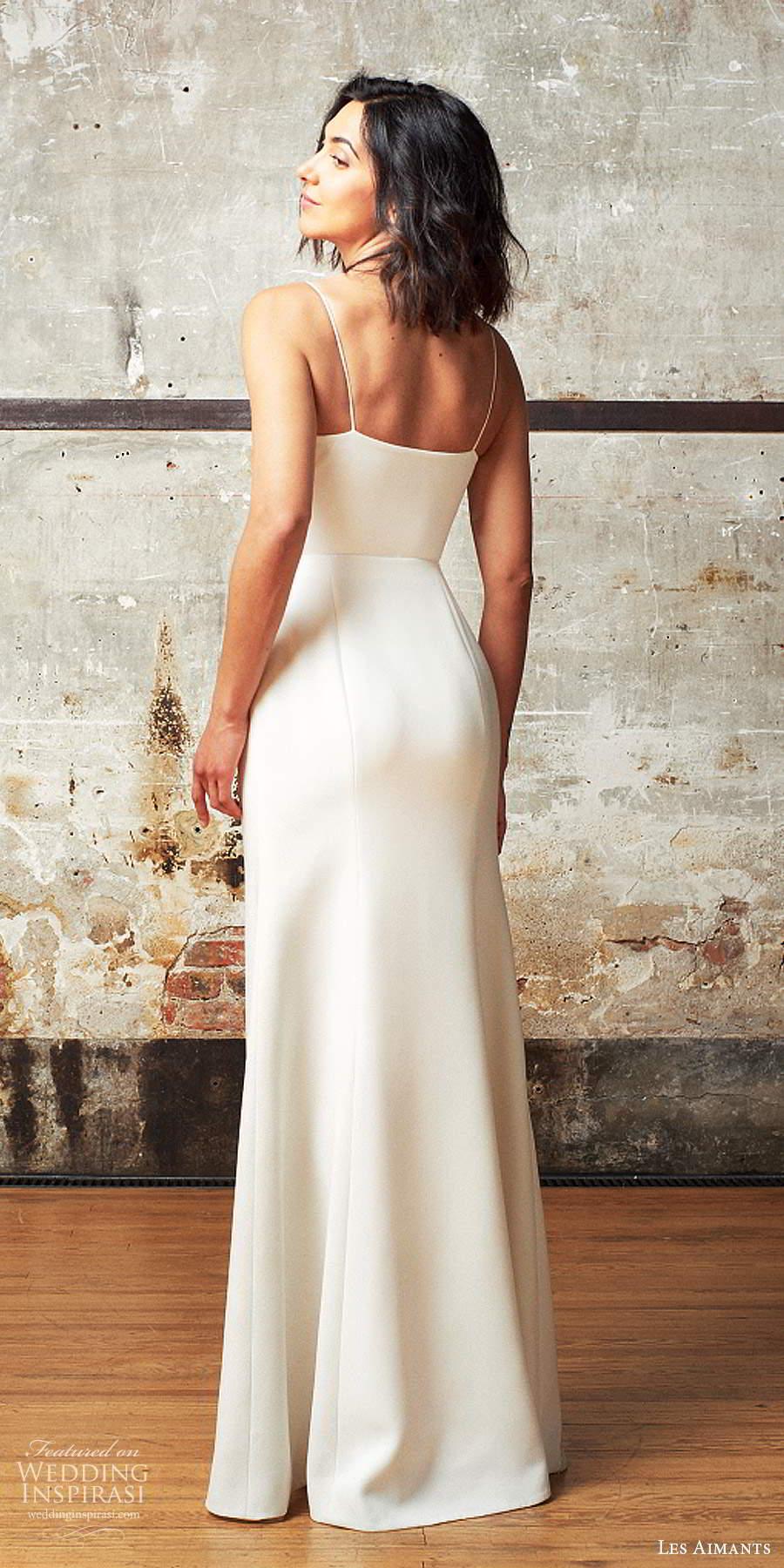 les aimants 2019 bridal sleeveless thin straps semi sweetheart neckline clean minimally enbellished column wedding dress slit skirt chapel train (8) bv