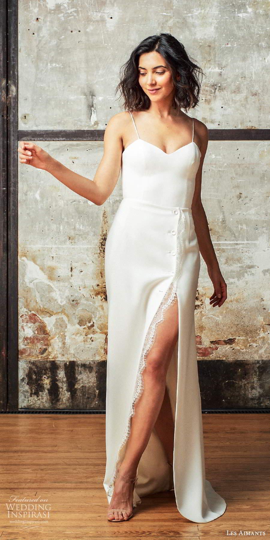 les aimants 2019 bridal sleeveless thin straps semi sweetheart neckline clean minimally enbellished column wedding dress slit skirt chapel train (8) mv