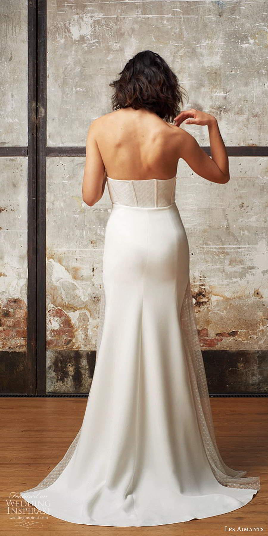 les aimants 2019 bridal strapless sweetheart neckline corset bodice clean minimalist sheath fit flare mermaid wedding dress chapel train (11) bv