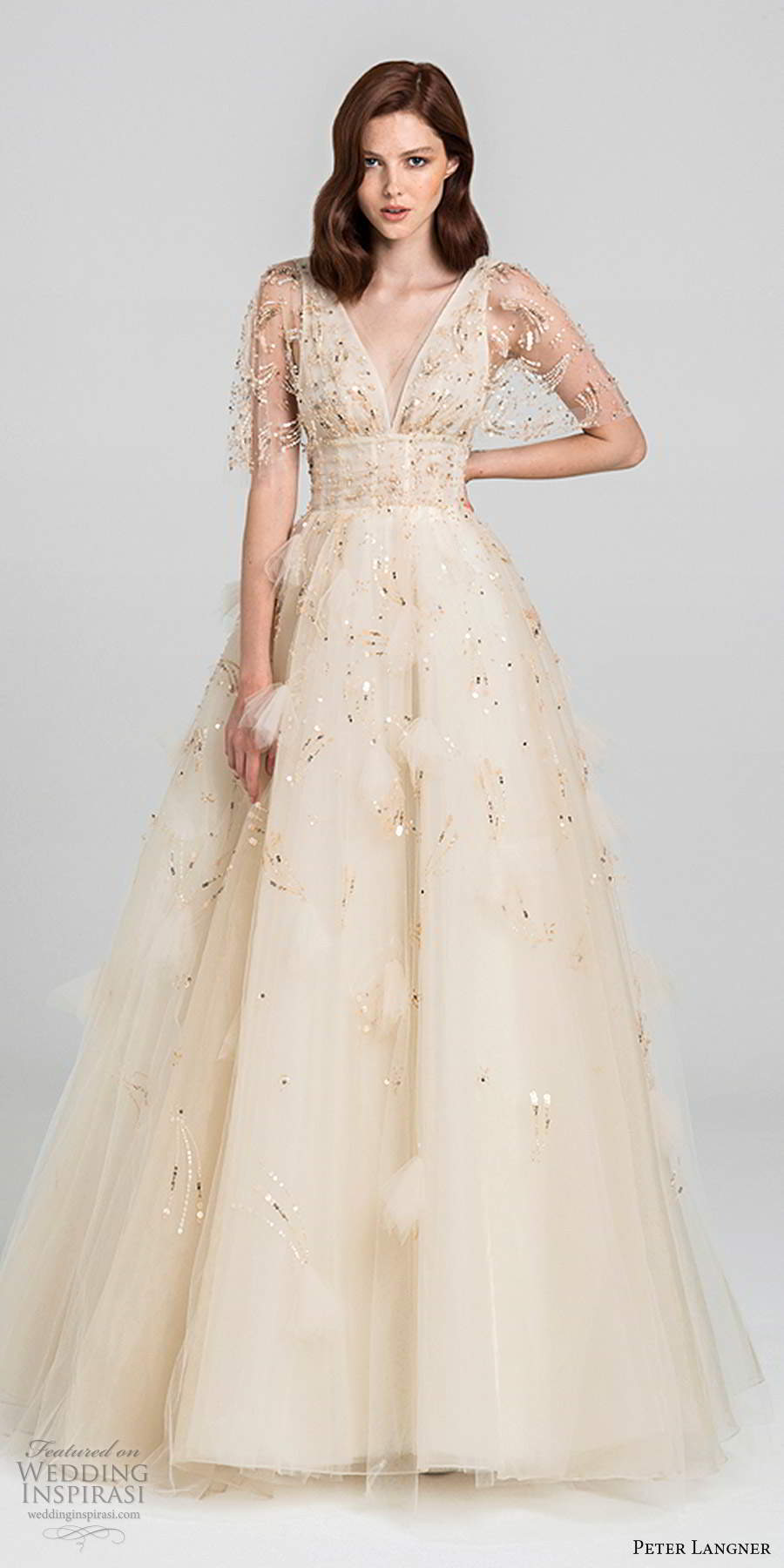 peter langner fall 2020 bridal illusion half flutter sleeves plunging v neckline fully embellished a line ball gown wedding dress v back chapel train (11) mv