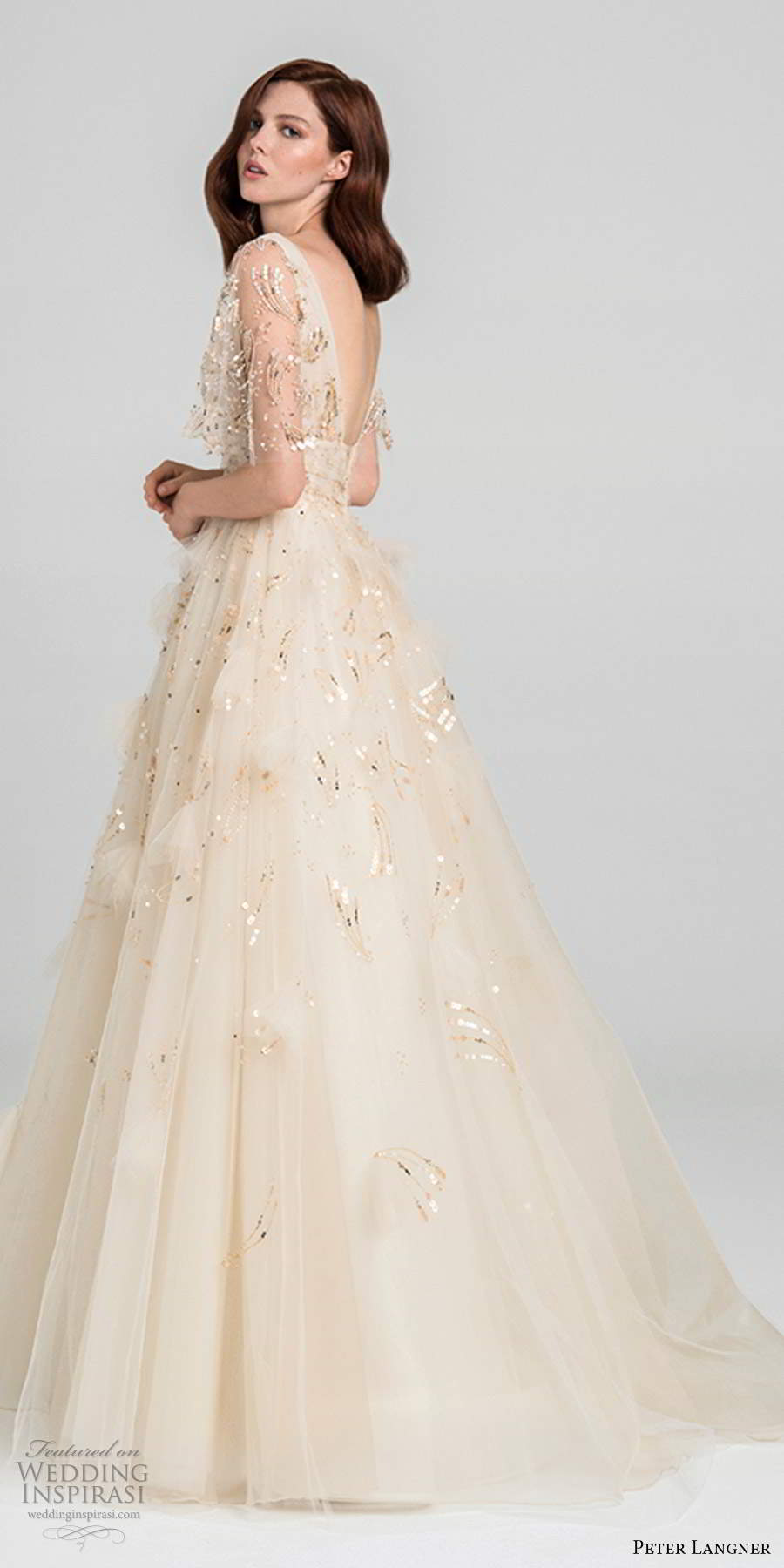 peter langner fall 2020 bridal illusion half flutter sleeves plunging v neckline fully embellished a line ball gown wedding dress v back chapel train (11) sv