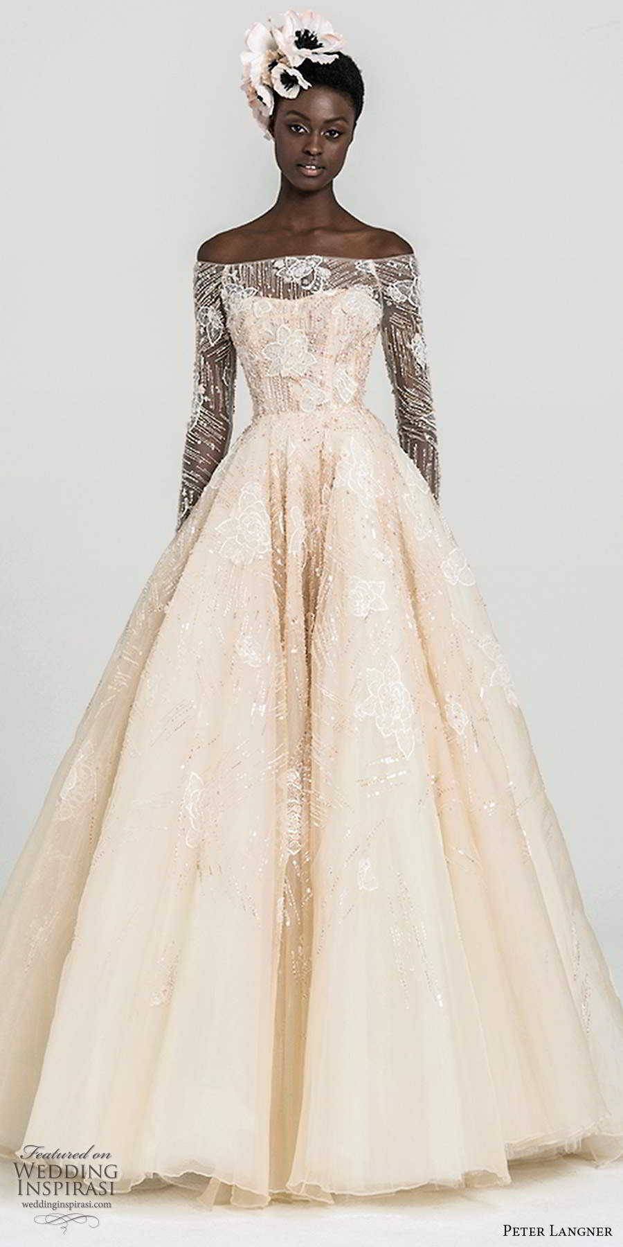peter langner fall 2020 bridal illusion long sleeves off shoulder semi sweetheart neckline fully embellished a line ball gown blush wedding dress sweep train (2) mv