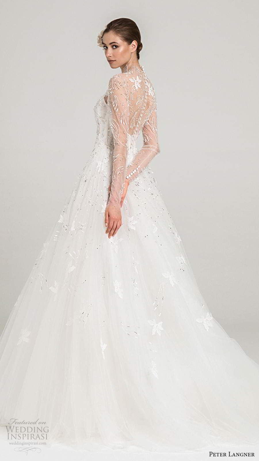 peter langner fall 2020 bridal illusion long sleeves sheer high neckline fully embellished a line ball gown wedding dress sheer back chapel train (3) bv