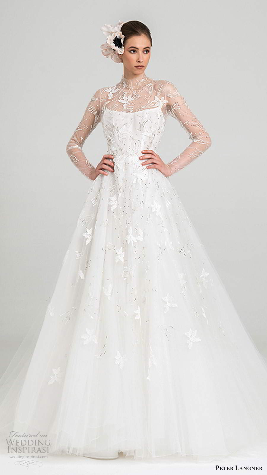 peter langner fall 2020 bridal illusion long sleeves sheer high neckline fully embellished a line ball gown wedding dress sheer back chapel train (3) mv