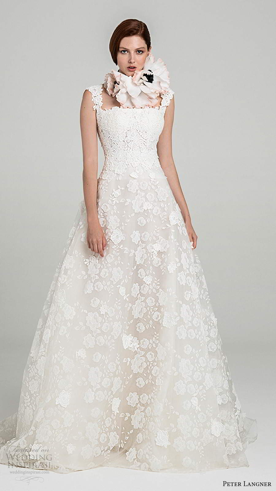 peter langner fall 2020 bridal off shoulder straps straight across neckline fully embellished lace a line ball gown wedding dress chapel train (4) mv