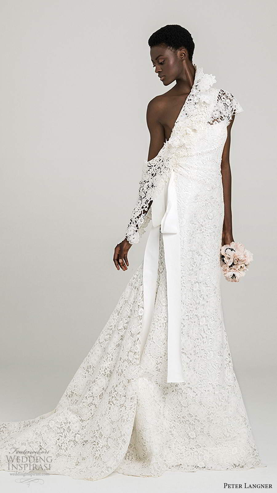 peter langner fall 2020 bridal one shoulder cap sleeves asymmetric neckline fully embellished lace fit flare trumpet a line wedding dress chapel train (8) mv