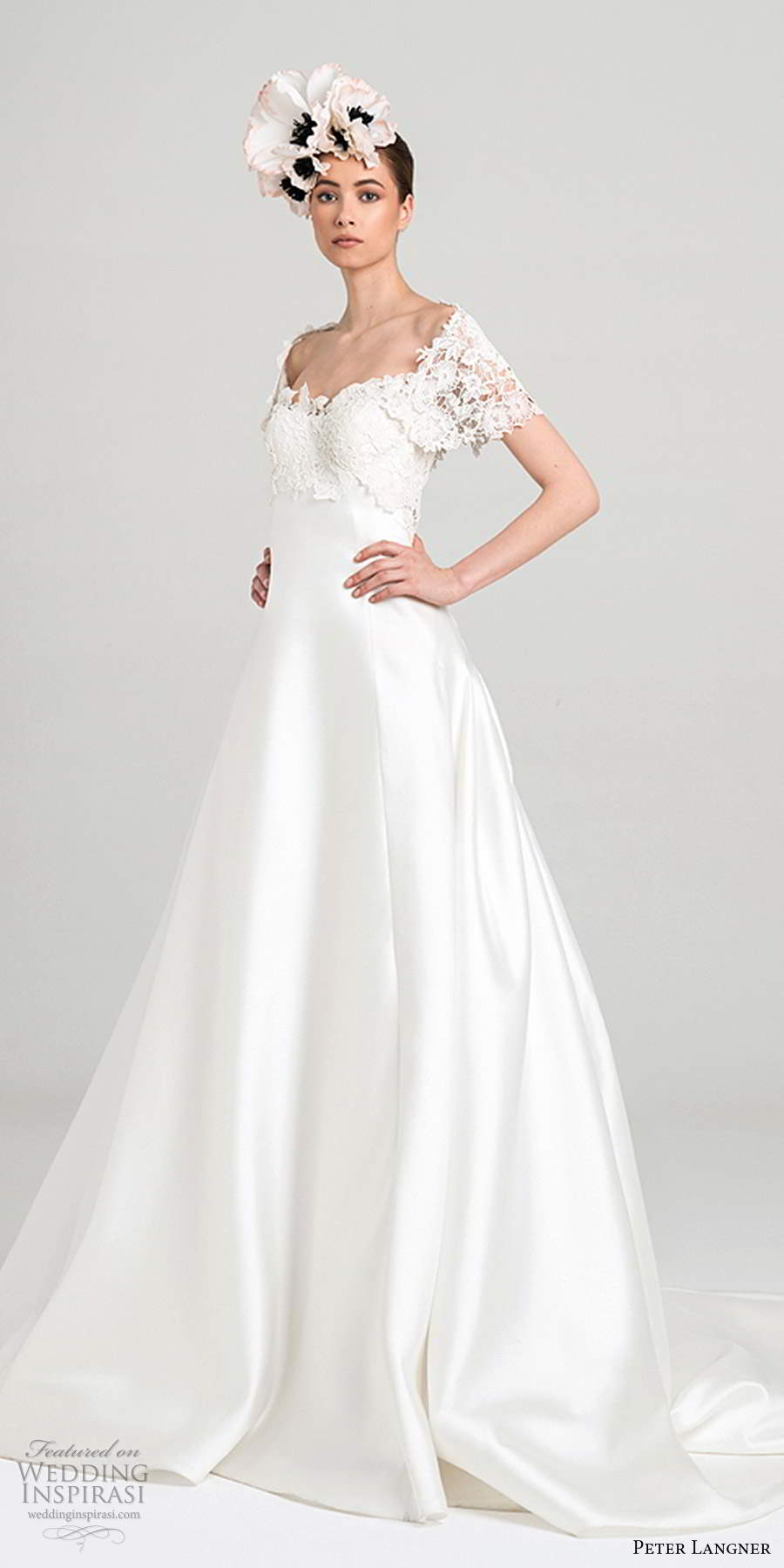 peter langner fall 2020 bridal sheer short sleeves off shoulder sweetheart neckline embellished lace bodice a line ball gown wedding dress chapel train (12) mv