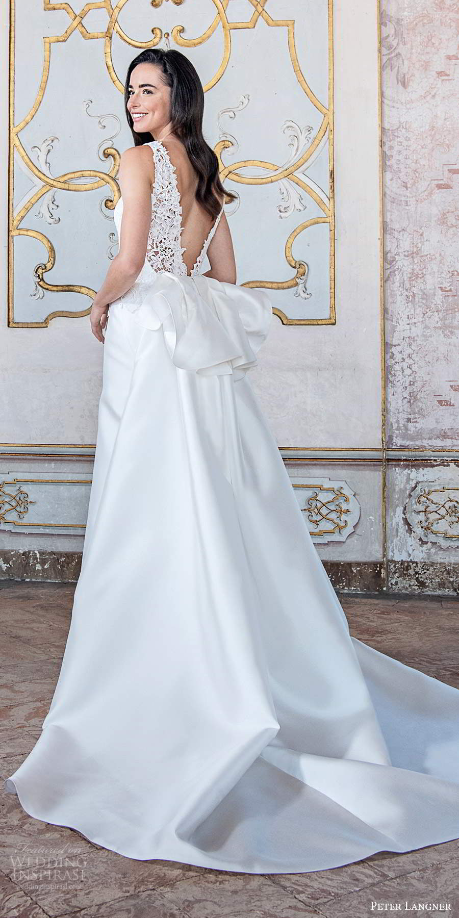 peter langner fall 2020 bridal sleeveless jewel neckline embellished bodice clean skirt a line ball gown wedding dress chapel train (18) bv