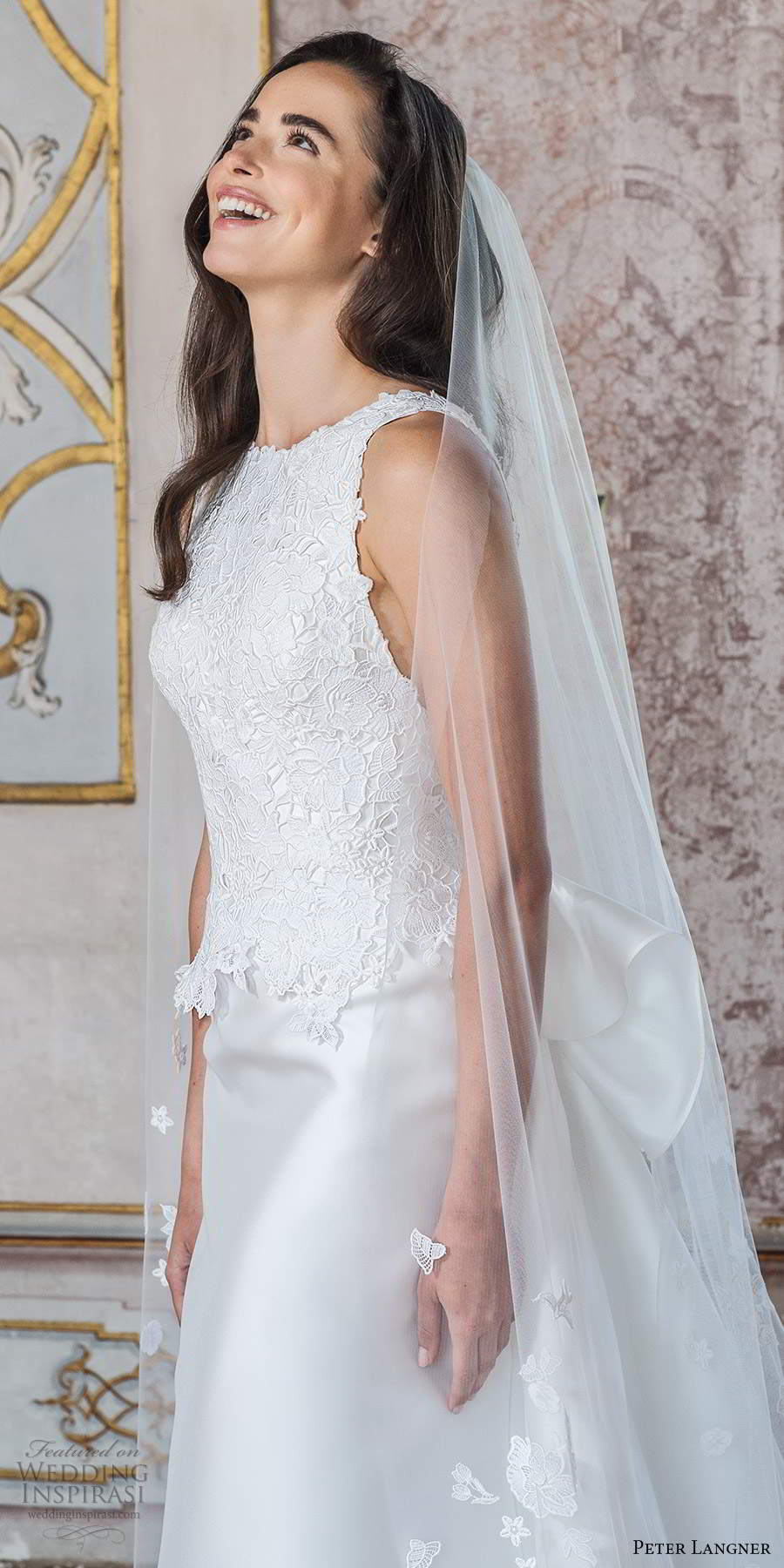 peter langner fall 2020 bridal sleeveless jewel neckline embellished bodice clean skirt a line ball gown wedding dress chapel train (18) mv