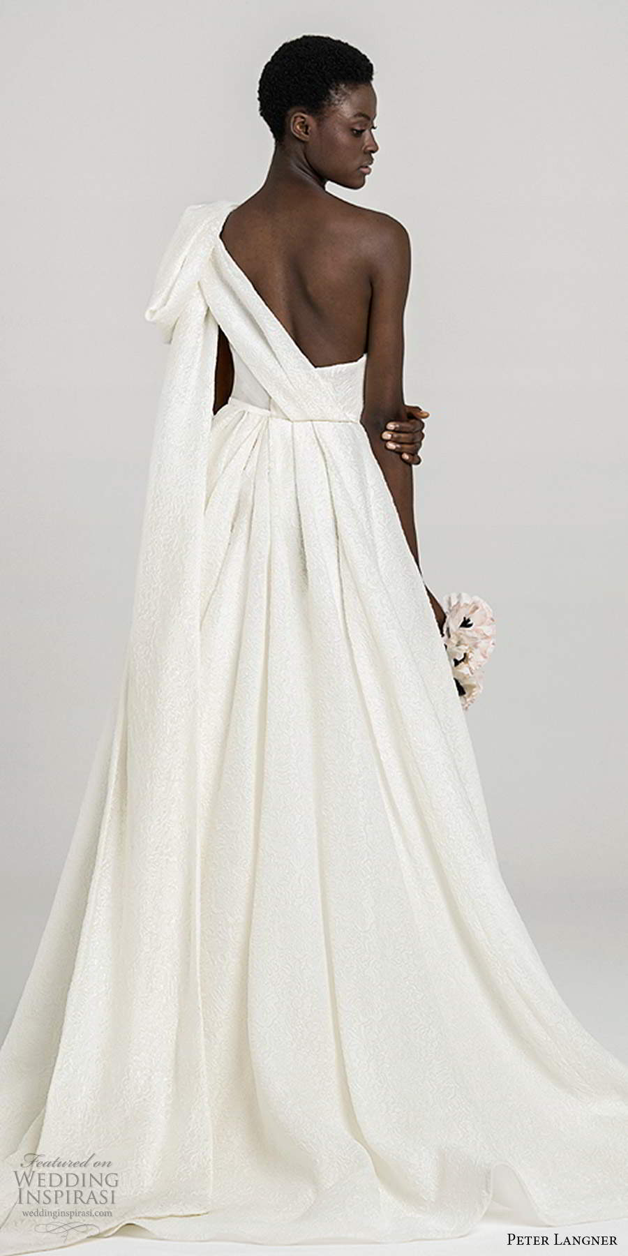 peter langner fall 2020 bridal sleeveless one shoulder asymmetric neckline pleated bodice minimally embellished a line ball gown wedding dress chapel train (13) bv