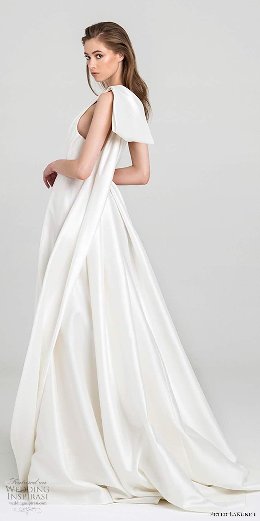 peter langner fall 2020 bridal sleeveless one shoulder asymmetric neckline pleated bodice minimally embellished a line ball gown wedding dress chapel train (14) bv