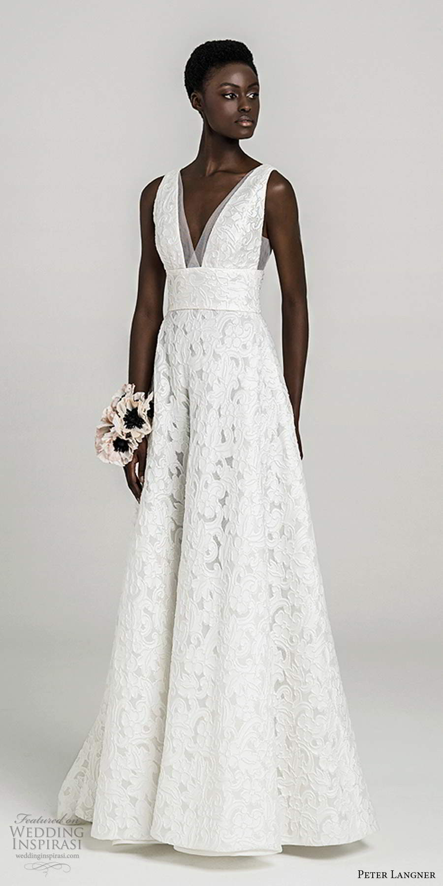 peter langner fall 2020 bridal sleeveless thick straps plunging v neckline fully embellished lace a line ball gown wedding dress sweep train (15) mv