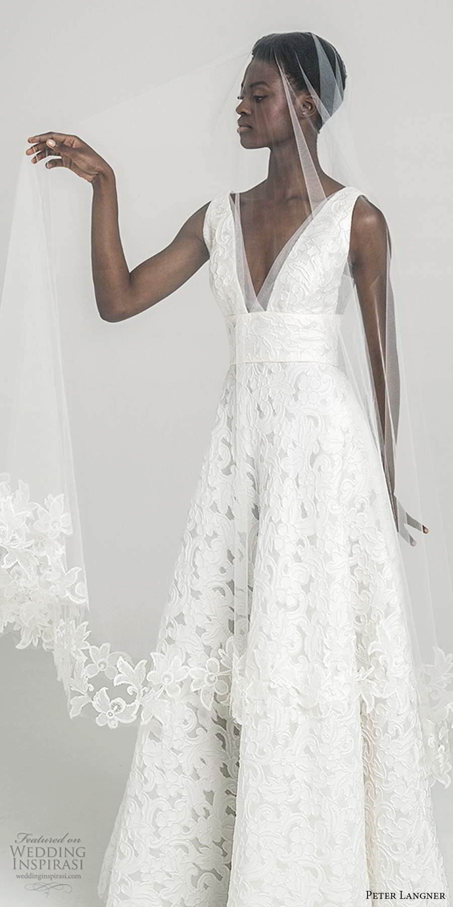 peter langner fall 2020 bridal sleeveless thick straps plunging v neckline fully embellished lace a line ball gown wedding dress sweep train (15) zv