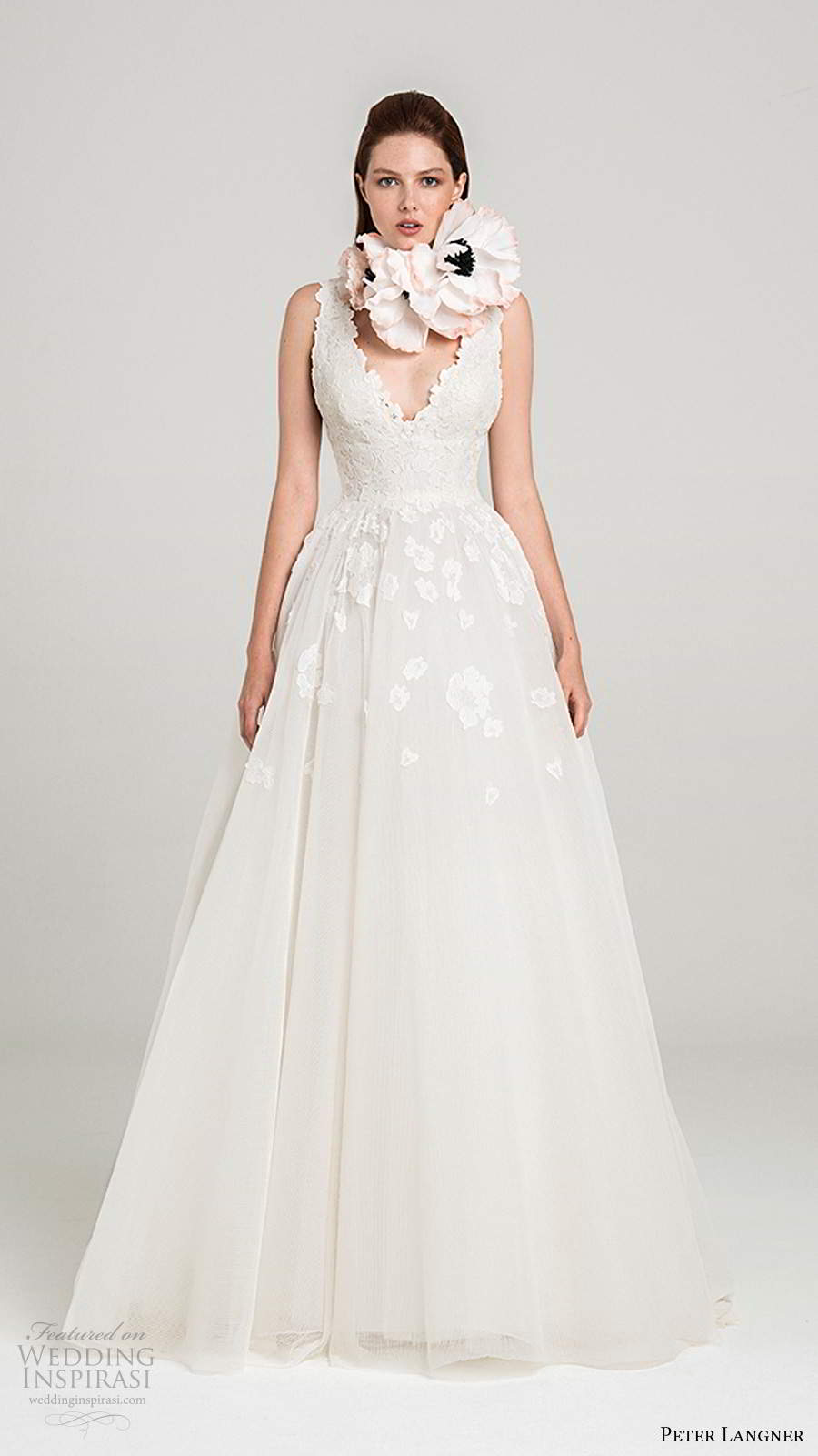 peter langner fall 2020 bridal sleeveless thick straps v encekline embellished bodice a line ball gown lace wedding dress chapel train (7) mv