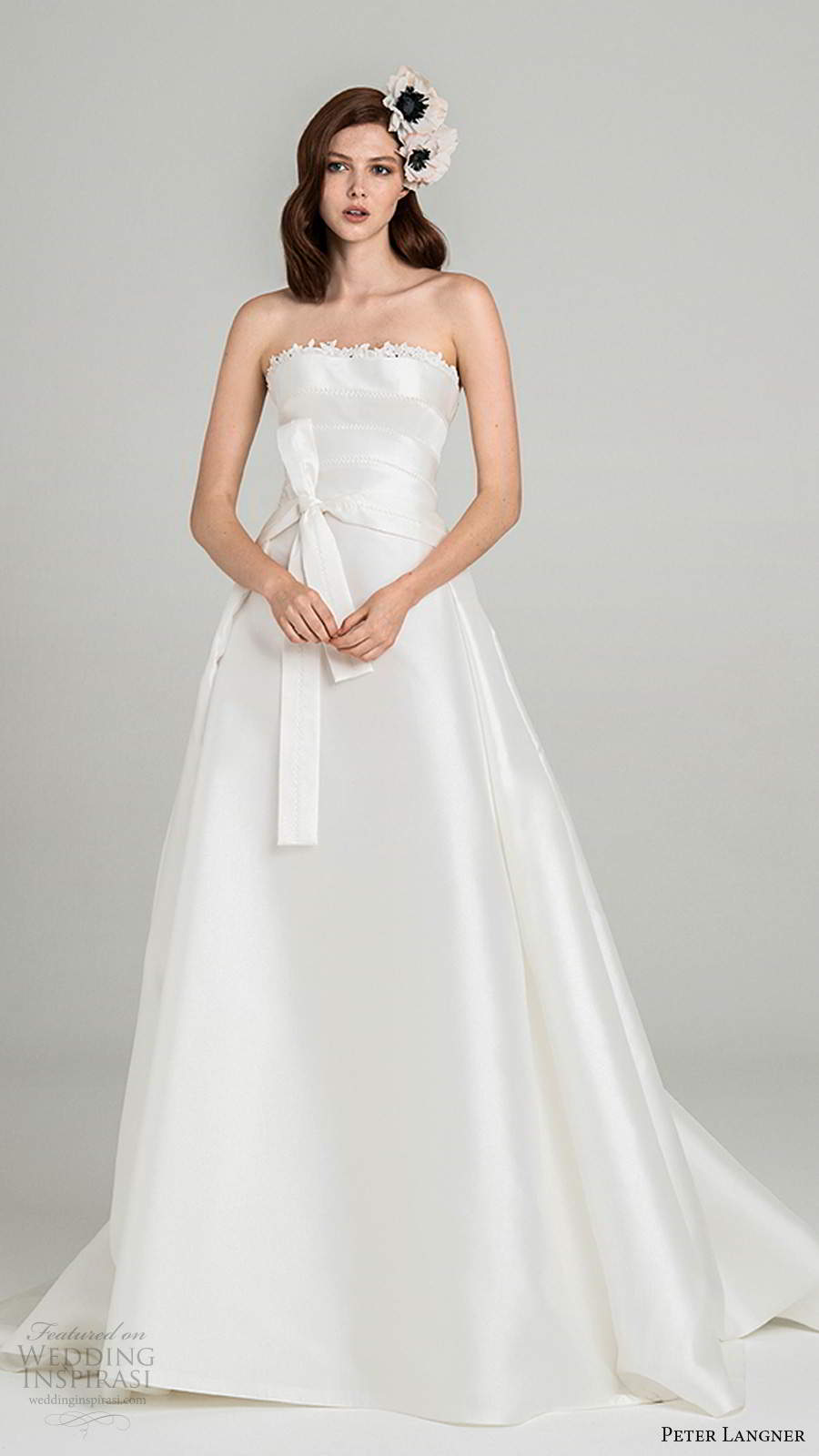 peter langner fall 2020 bridal strapless straight across neckline minimally embellished a line ball gown wedding dress chapel train (5) mv