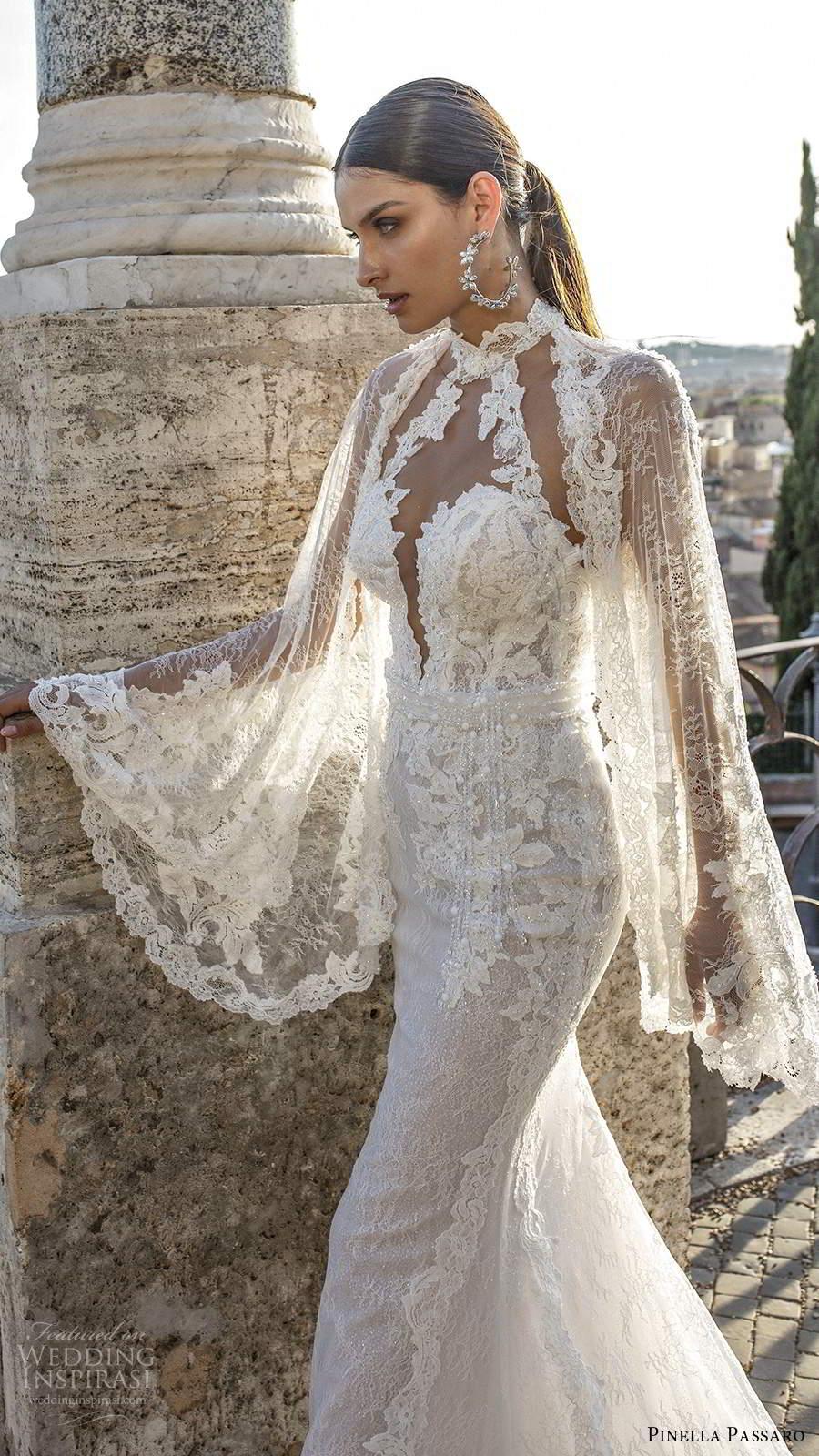 pinella passaro 2020 bridal illusion flare long sleeves high neckline plunging sweetheart bodice fully embellished lace sheath wedding dress sheer back cathedral train (3) mv