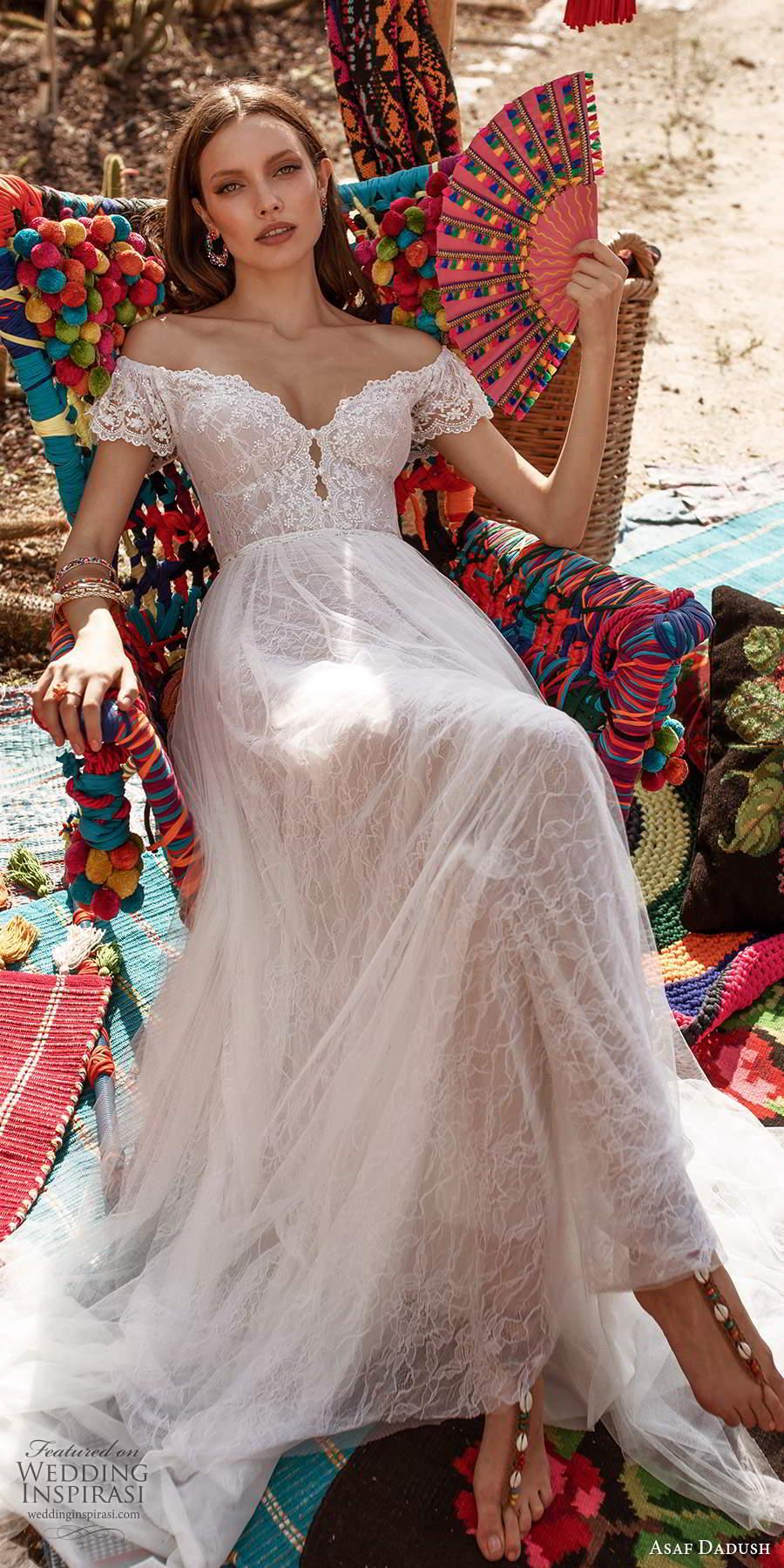 asaf dadush 2020 bridal short flutter sleeves off shoulder sweetheart neckline embellished lace soft a a line wedding dress (4) fv