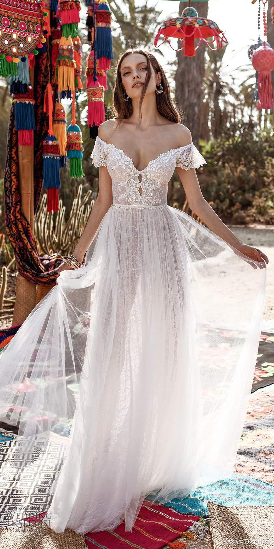 asaf dadush 2020 bridal short flutter sleeves off shoulder sweetheart neckline embellished lace soft a a line wedding dress (4) mv