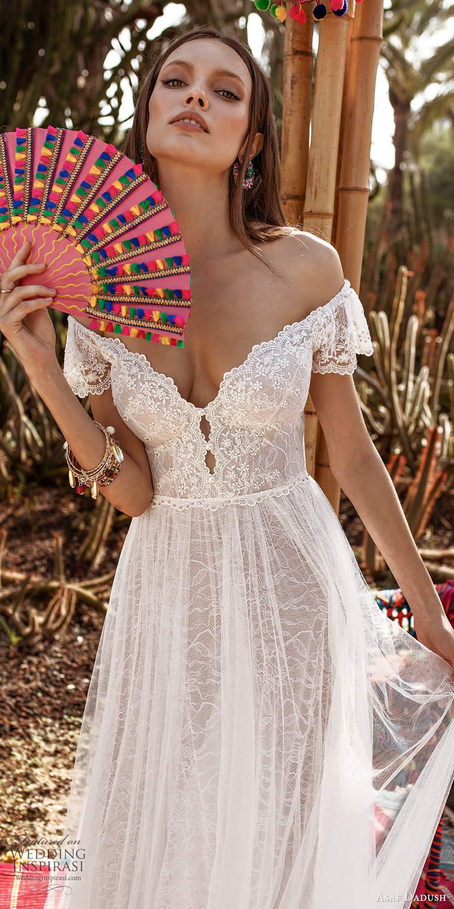 asaf dadush 2020 bridal short flutter sleeves off shoulder sweetheart neckline embellished lace soft a a line wedding dress (4) zv
