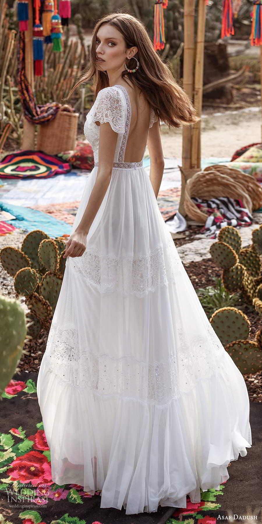 asaf dadush 2020 bridal short flutter sleeves plunging v neckline embellished lace boho a line wedding dress low back (1) bv